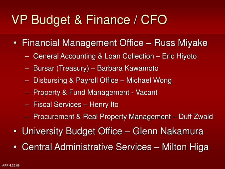 VP Budget & Finance / CFO