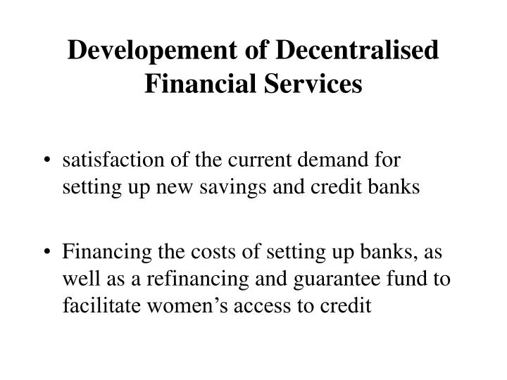 Developement of Decentralised Financial Services