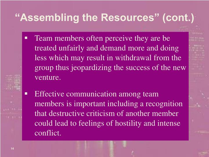 """""""Assembling the Resources"""" (cont.)"""