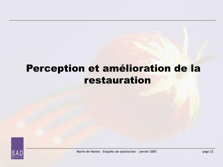 Perception et amélioration de la restauration
