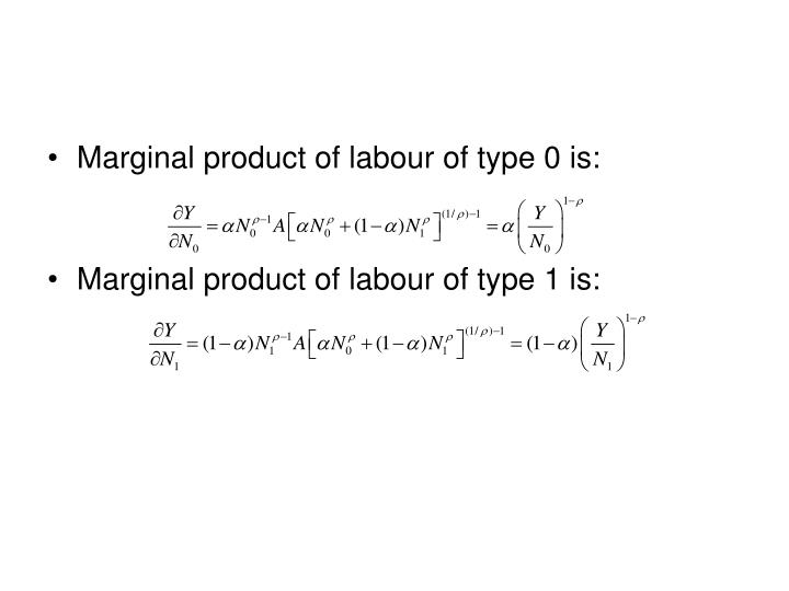 Marginal product of labour of type 0 is: