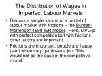 the distribution of wages in imperfect labour markets