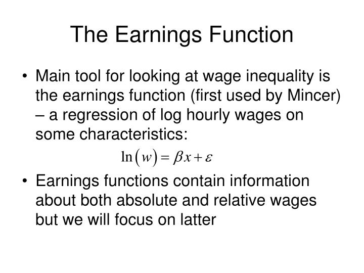 The Earnings Function