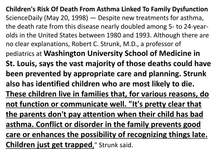 Children's Risk Of Death From Asthma Linked To Family Dysfunction
