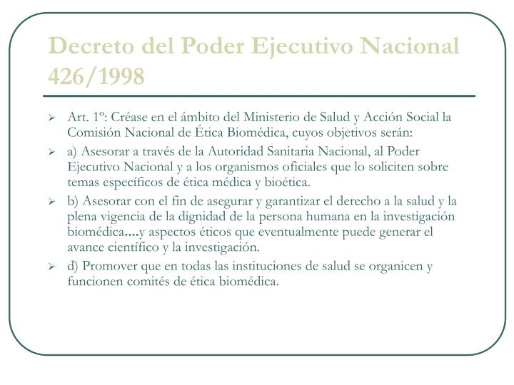 Decreto del Poder Ejecutivo Nacional 426/1998