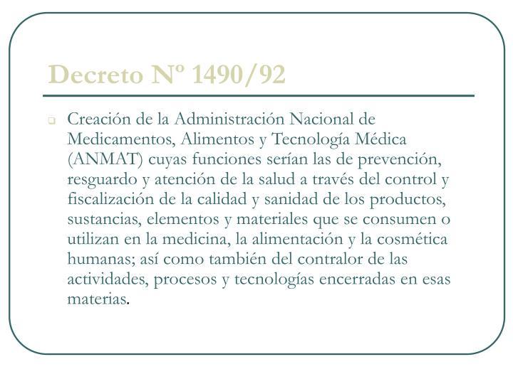 Decreto Nº 1490/92
