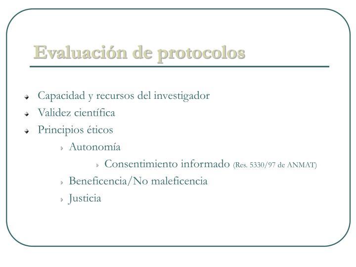 Evaluación de protocolos