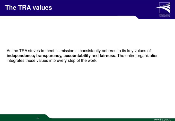 The TRA values