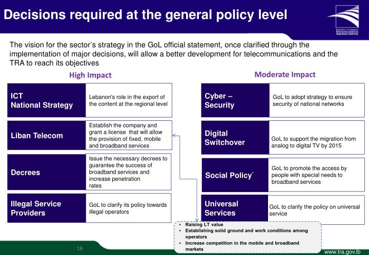 Decisions required at the general policy level