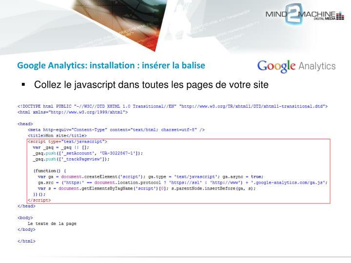 Google Analytics: installation : insérer la balise