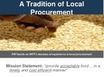 a tradition of local procurement