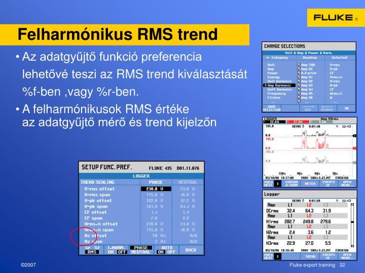 Felharmónikus RMS trend