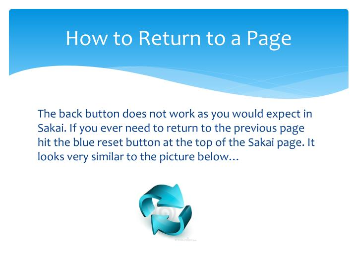 How to Return to a Page