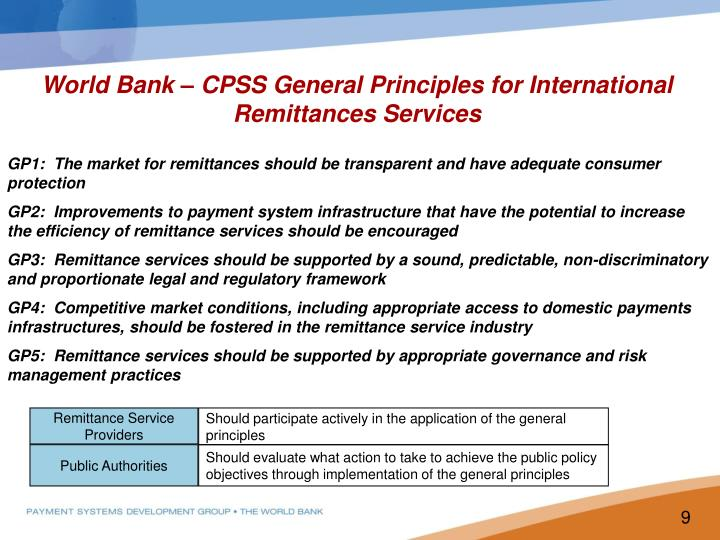 World Bank – CPSS General Principles for International Remittances Services