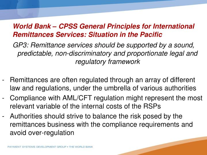 World Bank – CPSS General Principles for International Remittances Services: Situation in the Pacific