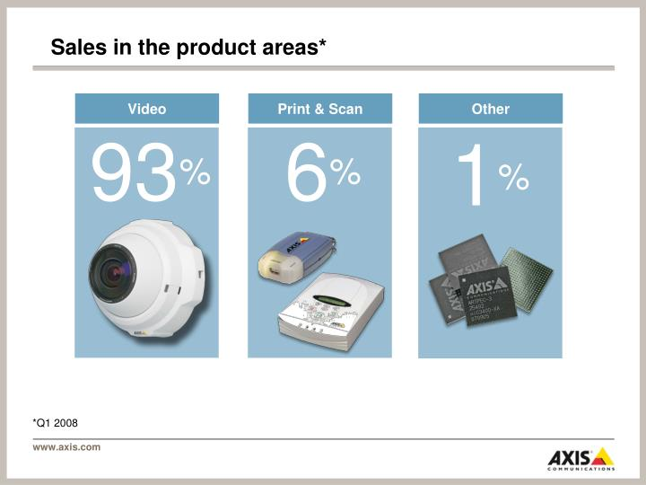 Sales in the product areas*
