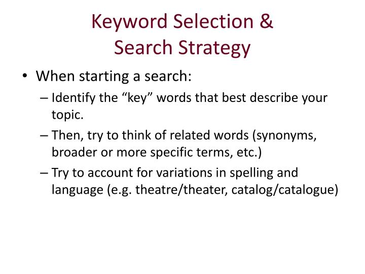 Keyword Selection &