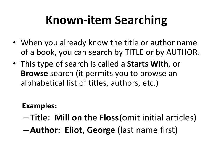 Known-item Searching
