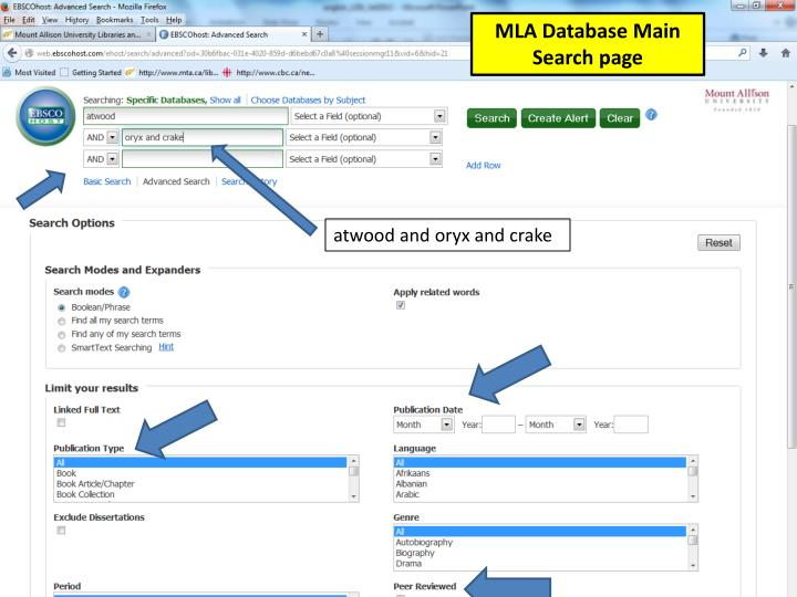 MLA Database Main Search page