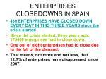 enterprises closedowns in spain