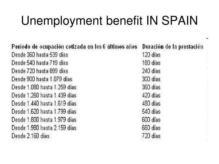 Unemployment benefit IN SPAIN