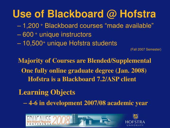 Use of Blackboard @ Hofstra