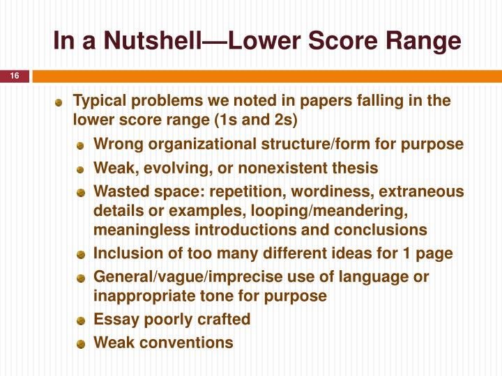 In a Nutshell—Lower Score Range