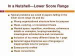in a nutshell lower score range