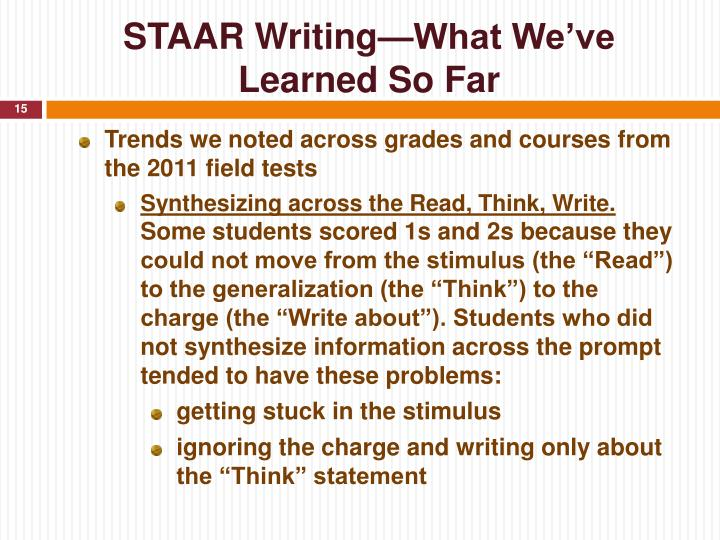 STAAR Writing—What We've Learned So Far