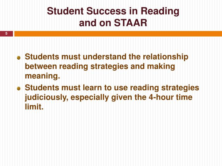 Student Success in Reading