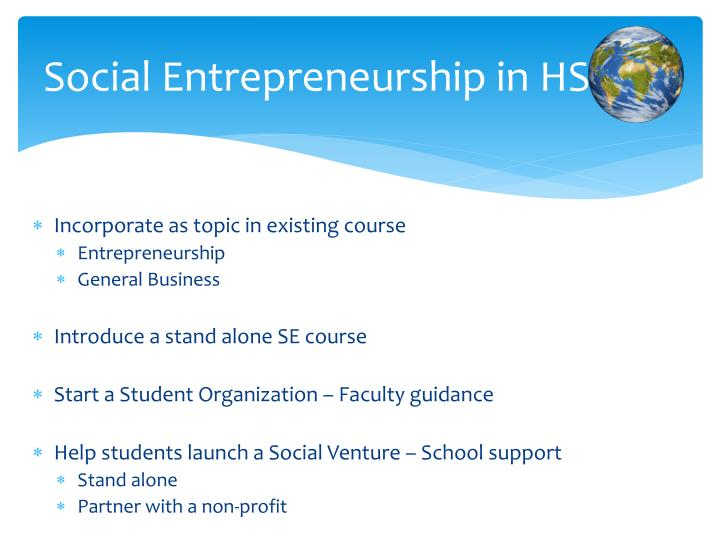 Social Entrepreneurship in HS