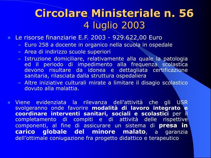 Circolare Ministeriale n. 56