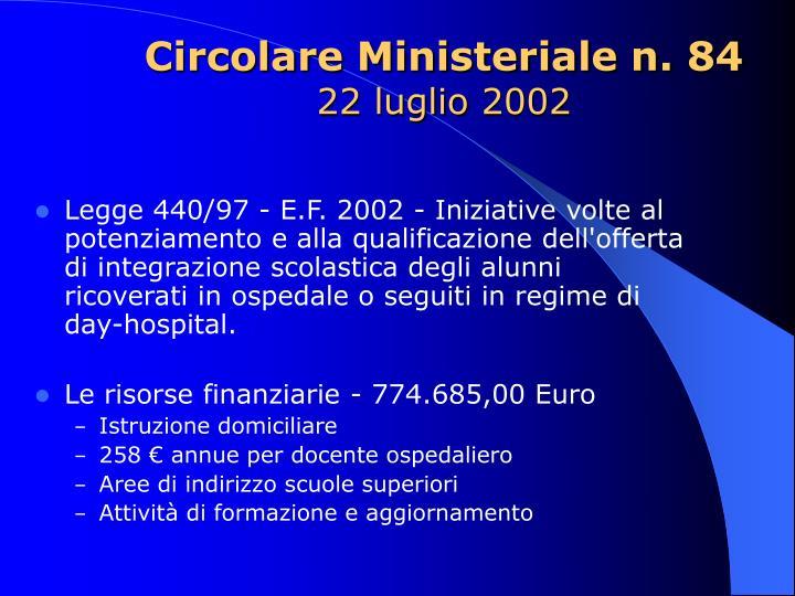 Circolare Ministeriale n. 84