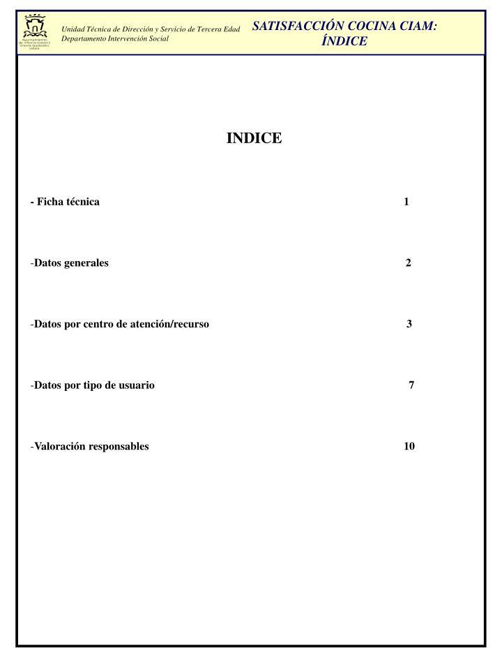 SATISFACCIÓN COCINA CIAM: