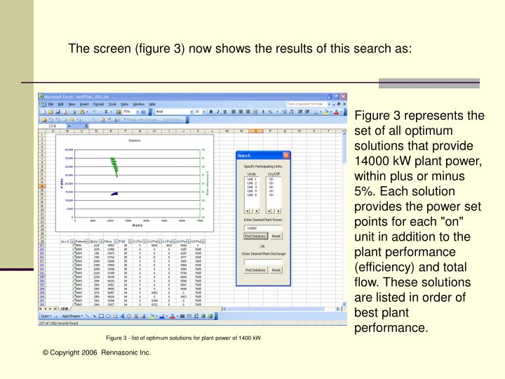 The screen (figure 3) now shows the results of this search as: