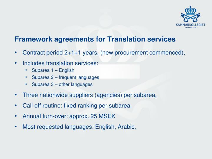 Framework agreements for Translation services