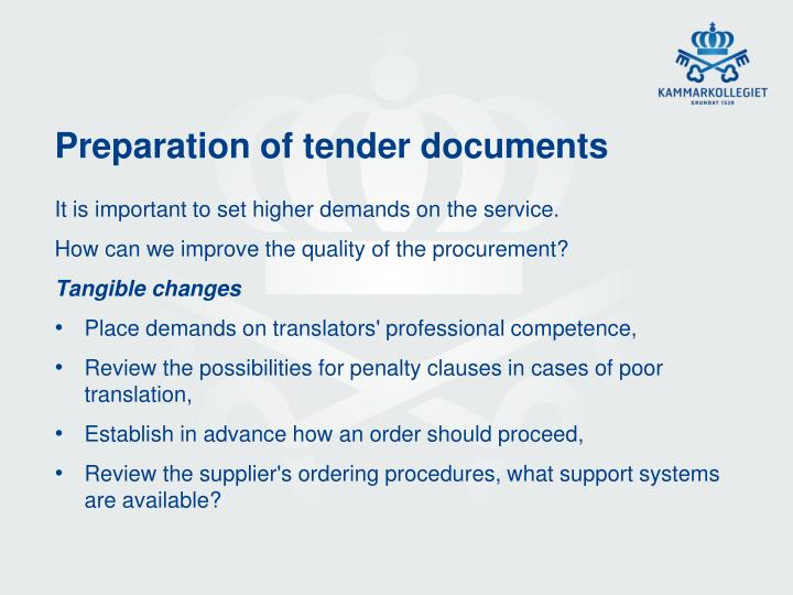 Preparation of tender documents