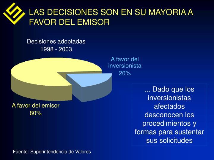 LAS DECISIONES SON EN SU MAYORIA A FAVOR DEL EMISOR