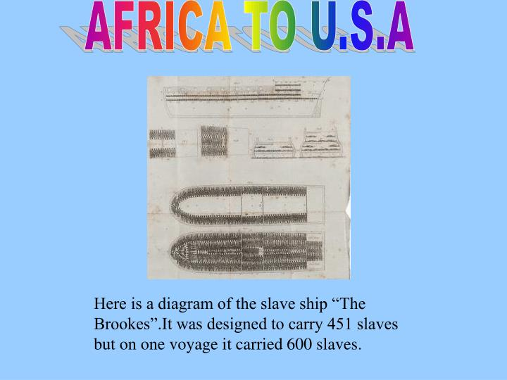 "Here is a diagram of the slave ship ""The Brookes"".It was designed to carry 451 slaves but on one voyage it carried 600 slaves."