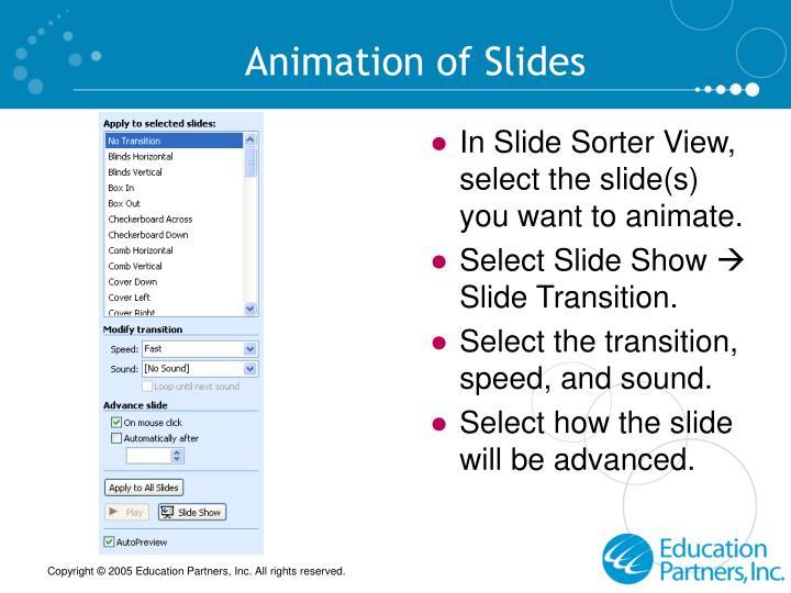 Animation of Slides