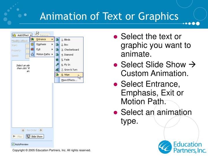 Animation of Text or Graphics