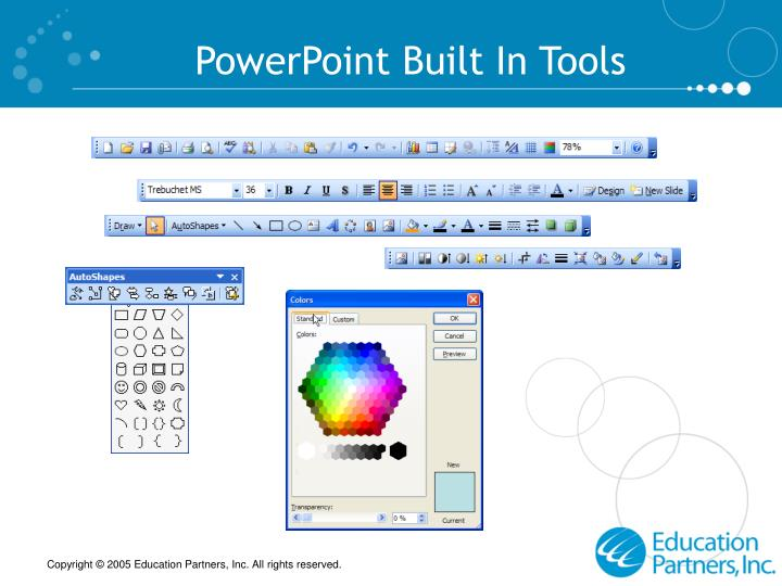 PowerPoint Built In Tools