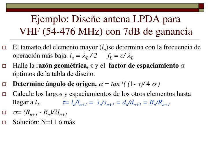 Ejemplo: Diseñe antena LPDA para