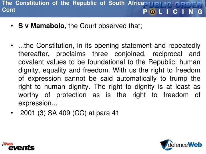 The Constitution of the Republic of South Africa Cont