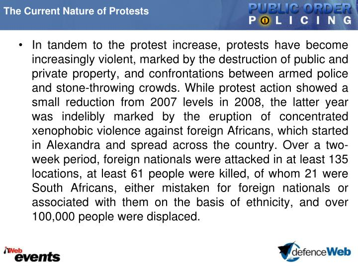The Current Nature of Protests