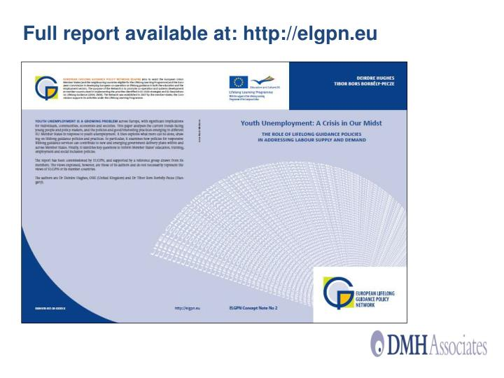 Full report available at: http://elgpn.eu