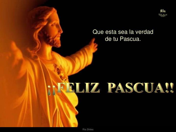 Que esta sea la verdad                              de tu Pascua.