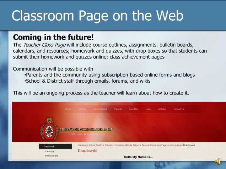 Classroom Page on