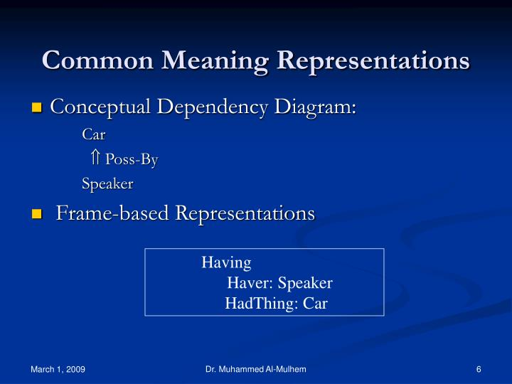 Common Meaning Representations