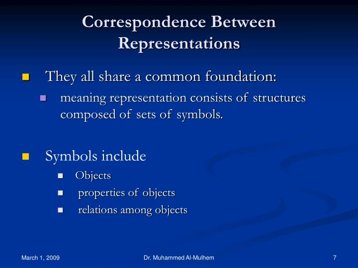 Correspondence Between Representations